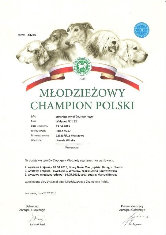 Dyplom - Młodzieżowy Champion Polski